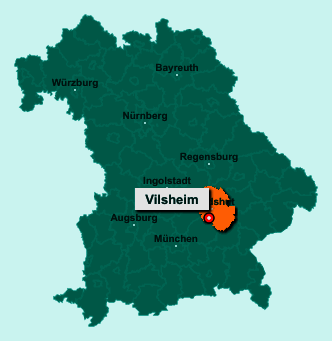 Der Lageplan von 84186 Vilsheim zeigt die Position im Landkreis Landshut - Der Ort liegt im Bundesland Bayern