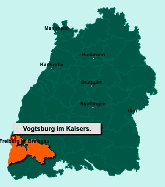 Der Lageplan von 79235 Vogtsburg im Kaiserstuhl zeigt die Position im Landkreis Breisgau-Hochschwarzwald - Der Ort liegt im Bundesland Baden-Württemberg