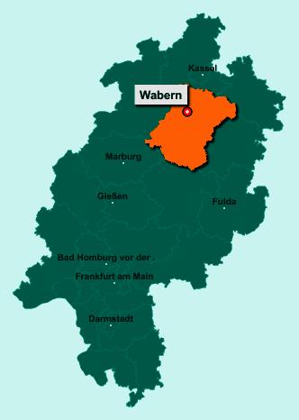 Der Lageplan von 34590 Wabern zeigt die Position im Schwalm-Eder-Kreis - Der Ort liegt im Bundesland Hessen