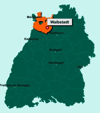 Die Karte von Waibstadt zeigt die Lage im Rhein-Neckar-Kreis - Der Ort 74915 Waibstadt liegt im Bundesland Baden-Württemberg
