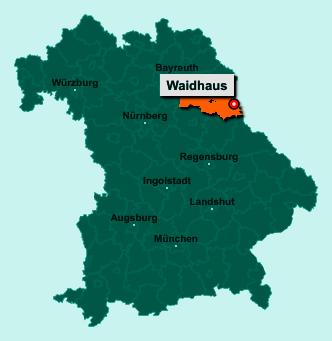 Die Karte von Waidhaus zeigt die Lage im Landkreis Neustadt an der Waldnaab - Der Ort 92726 Waidhaus liegt im Bundesland Bayern