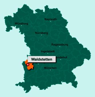 Die Karte von Waldstetten zeigt die Lage im Landkreis Günzburg - Der Ort 89367 Waldstetten liegt im Bundesland Bayern
