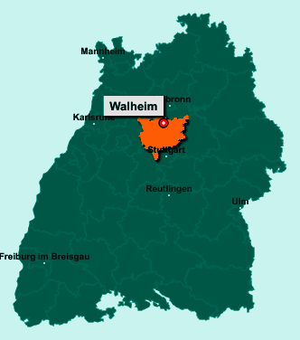 Die Karte von Walheim zeigt die Lage im Landkreis Ludwigsburg - Der Ort 74399 Walheim liegt im Bundesland Baden-Württemberg