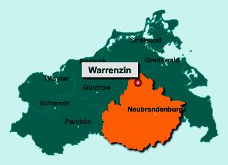 Die Karte von Warrenzin zeigt die Lage im Landkreis Mecklenburgische Seenplatte - Der Ort 17111 Warrenzin liegt im Bundesland Mecklenburg-Vorpommern