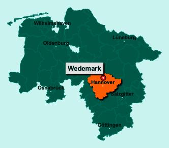 Der Lageplan von 30900 Wedemark zeigt die Position im Landkreis Region Hannover - Der Ort liegt im Bundesland Niedersachsen