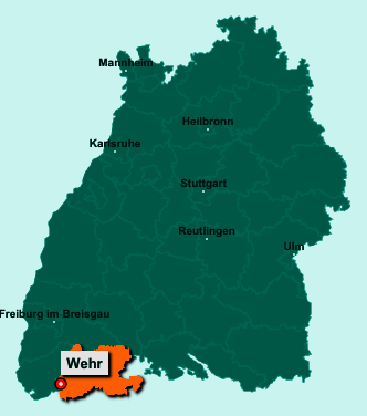 Der Lageplan von 79664 Wehr zeigt die Position im Landkreis Waldshut - Der Ort liegt im Bundesland Baden-Württemberg