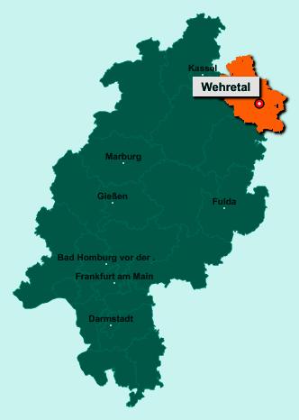 Der Lageplan von 37287 Wehretal zeigt die Position im Werra-Meißner-Kreis - Der Ort liegt im Bundesland Hessen