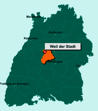 Der Lageplan von 71263 Weil der Stadt zeigt die Position im Landkreis Böblingen - Der Ort liegt im Bundesland Baden-Württemberg