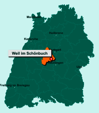 Der Lageplan von 71093 Weil im Schönbuch zeigt die Position im Landkreis Böblingen - Der Ort liegt im Bundesland Baden-Württemberg
