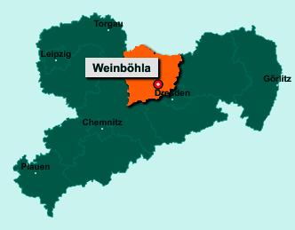 Die Karte von Weinböhla zeigt die Lage im Landkreis Meißen - Der Ort 01689 Weinböhla liegt im Bundesland Sachsen