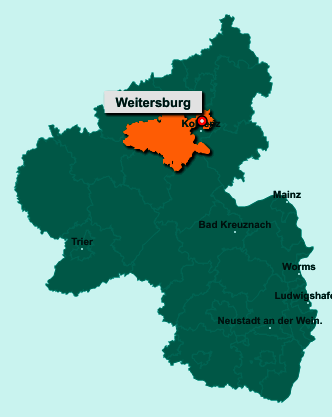 Die Karte von Weitersburg zeigt die Lage im Landkreis Mayen-Koblenz - Der Ort 56191 Weitersburg liegt im Bundesland Rheinland-Pfalz