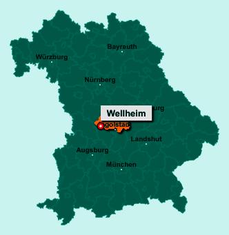 Der Lageplan von 91809 Wellheim zeigt die Position im Landkreis Eichstätt - Der Ort liegt im Bundesland Bayern