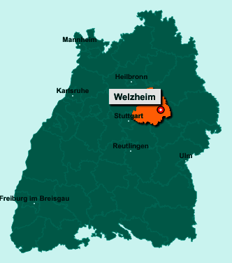 Der Lageplan von Welzheim zeigt die Position im Rems-Murr-Kreis - Der Ort liegt im Bundesland Baden-Württemberg