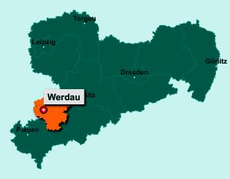Der Lageplan von 08412 Werdau zeigt die Position im Landkreis Zwickau - Der Ort liegt im Bundesland Sachsen