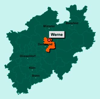 Der Lageplan von 59368 Werne zeigt die Position im Kreis Unna - Der Ort liegt im Bundesland Nordrhein-Westfalen
