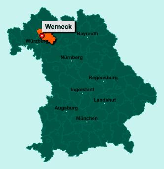Der Lageplan von 97440 Werneck zeigt die Position im Landkreis Schweinfurt - Der Ort liegt im Bundesland Bayern