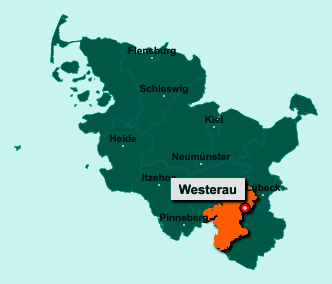 Die Karte von Westerau zeigt die Lage im Kreis Stormarn - Der Ort 23847 Westerau liegt im Bundesland Schleswig-Holstein