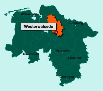 Die Karte von Westerwalsede zeigt die Lage im Landkreis Rotenburg (Wümme) - Der Ort 27386 Westerwalsede liegt im Bundesland Niedersachsen