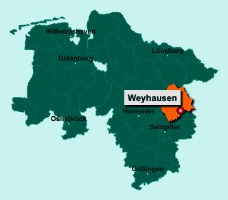 Die Karte von Weyhausen zeigt die Lage im Landkreis Gifhorn - Der Ort 38554 Weyhausen liegt im Bundesland Niedersachsen