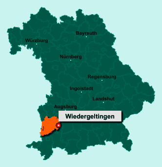 Die Karte von Wiedergeltingen zeigt die Lage im Landkreis Unterallgäu - Der Ort 86879 Wiedergeltingen liegt im Bundesland Bayern