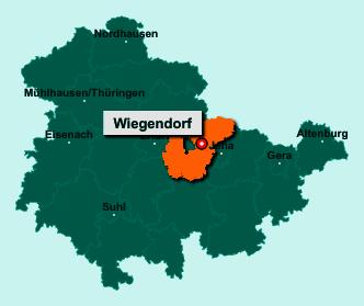 Die Karte von Wiegendorf zeigt die Lage im Landkreis Weimarer Land - Der Ort 99510 Wiegendorf liegt im Bundesland Thüringen