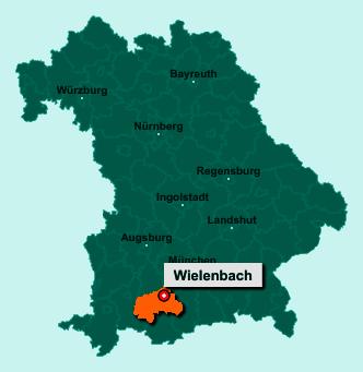 Der Lageplan von 82407 Wielenbach zeigt die Position im Landkreis Weilheim-Schongau - Der Ort liegt im Bundesland Bayern