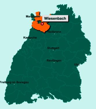 Die Karte von Wiesenbach zeigt die Lage im Rhein-Neckar-Kreis - Der Ort 69257 Wiesenbach liegt im Bundesland Baden-Württemberg