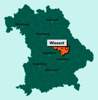 Die Karte von Wiesent zeigt die Lage im Landkreis Regensburg - Der Ort 93109 Wiesent liegt im Bundesland Bayern