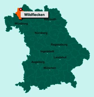 Der Lageplan von 97772 Wildflecken zeigt die Position im Landkreis Bad Kissingen - Der Ort liegt im Bundesland Bayern