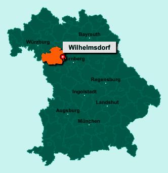Die Karte von Wilhelmsdorf zeigt die Lage im Landkreis Neustadt an der Aisch-Bad Windsheim - Der Ort 91489 Wilhelmsdorf liegt im Bundesland Bayern