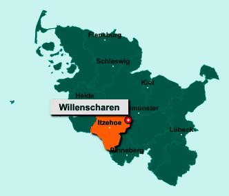 Der Lageplan von 24616 Willenscharen zeigt die Position im Kreis Steinburg - Der Ort liegt im Bundesland Schleswig-Holstein