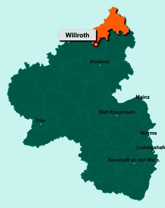 Der Lageplan von 56594 Willroth zeigt die Position im Landkreis Altenkirchen - Der Ort liegt im Bundesland Rheinland-Pfalz