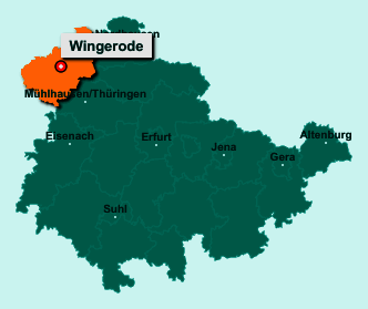 Der Lageplan von 37327 Wingerode zeigt die Position im Landkreis Eichsfeld - Der Ort liegt im Bundesland Thüringen