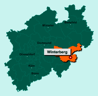 Der Lageplan von 59955 Winterberg zeigt die Position im Hochsauerlandkreis - Der Ort liegt im Bundesland Nordrhein-Westfalen