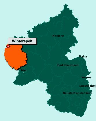 Die Karte von Winterspelt zeigt die Lage im Eifelkreis Bitburg-Prüm - Der Ort 54616 Winterspelt liegt im Bundesland Rheinland-Pfalz
