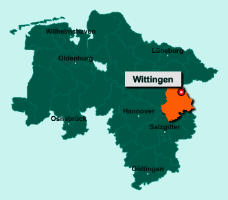 Der Lageplan von Wittingen zeigt die Position im Landkreis Gifhorn - Der Ort liegt im Bundesland Niedersachsen