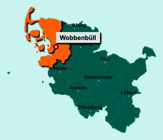 Die Karte von Wobbenbüll zeigt die Lage im Kreis Nordfriesland - Der Ort 25856 Wobbenbüll liegt im Bundesland Schleswig-Holstein