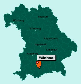 Die Karte von Wörthsee zeigt die Lage im Landkreis Starnberg - Der Ort 82237 Wörthsee liegt im Bundesland Bayern