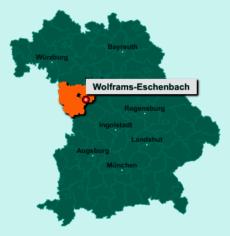Der Lageplan von 91639 Wolframs-Eschenbach zeigt die Position im Landkreis Ansbach - Der Ort liegt im Bundesland Bayern