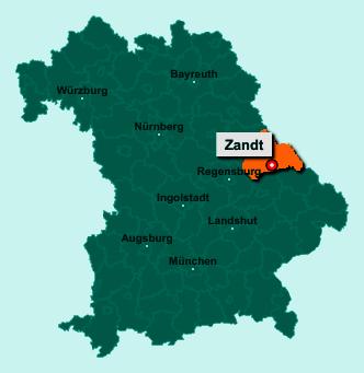 Der Lageplan von 93499 Zandt zeigt die Position im Landkreis Cham - Der Ort liegt im Bundesland Bayern