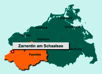 Die Karte von Zarrentin am Schaalsee zeigt die Lage im Landkreis Ludwigslust-Parchim - Der Ort 19246 Zarrentin am Schaalsee liegt im Bundesland Mecklenburg-Vorpommern