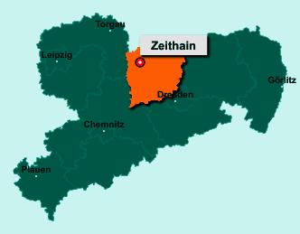 Die Karte von Zeithain zeigt die Lage im Landkreis Meißen - Der Ort 01619 Zeithain liegt im Bundesland Sachsen