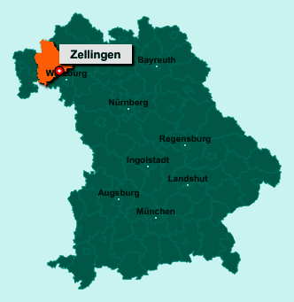 Die Karte von Zellingen zeigt die Lage im Landkreis Main-Spessart - Der Ort 97225 Zellingen liegt im Bundesland Bayern