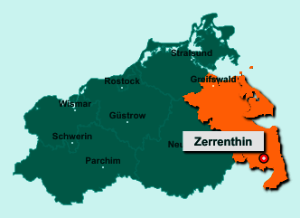 Der Lageplan von 17309 Zerrenthin zeigt die Position im Landkreis Vorpommern-Greifswald - Der Ort liegt im Bundesland Mecklenburg-Vorpommern