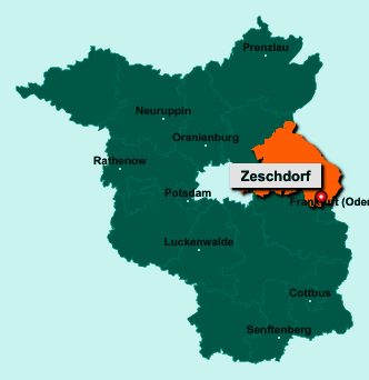 Die Karte von Zeschdorf zeigt die Lage im Landkreis Märkisch-Oderland - Der Ort 15326 Zeschdorf liegt im Bundesland Brandenburg