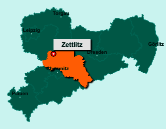 Der Lageplan von 09306 Zettlitz zeigt die Position im Landkreis Mittelsachsen - Der Ort liegt im Bundesland Sachsen