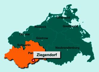 Die Karte von Ziegendorf zeigt die Lage im Landkreis Ludwigslust-Parchim - Der Ort 19372 Ziegendorf liegt im Bundesland Mecklenburg-Vorpommern