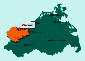 Die Karte von Zierow zeigt die Lage im Landkreis Nordwestmecklenburg - Der Ort 23968 Zierow liegt im Bundesland Mecklenburg-Vorpommern