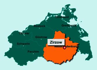 Der Lageplan von 17039 Zirzow zeigt die Position im Landkreis Mecklenburgische Seenplatte - Der Ort liegt im Bundesland Mecklenburg-Vorpommern