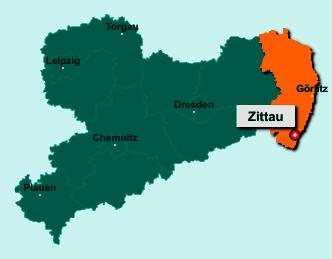 Der Lageplan von Zittau zeigt die Position im Landkreis Görlitz - Der Ort liegt im Bundesland Sachsen